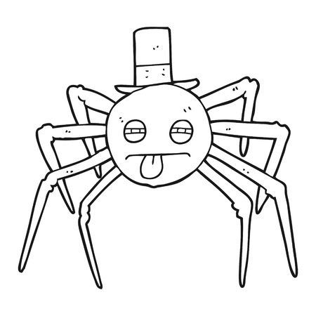 top black hat: freehand drawn black and white cartoon halloween spider in top hat