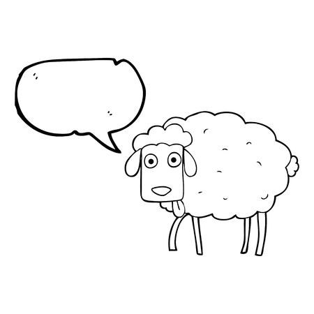 freehand drawn speech bubble cartoon muddy sheep