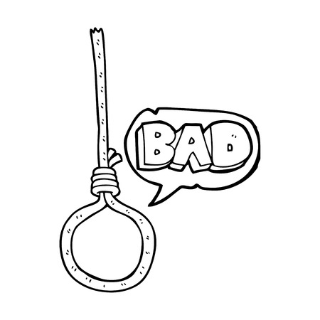 the noose: freehand drawn speech bubble cartoon noose
