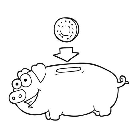 bank book: freehand drawn black and white cartoon piggy bank