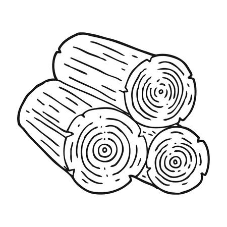 logs: freehand drawn black and white cartoon logs Illustration