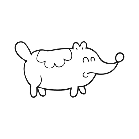 fat dog: freehand drawn black and white cartoon small fat dog Illustration