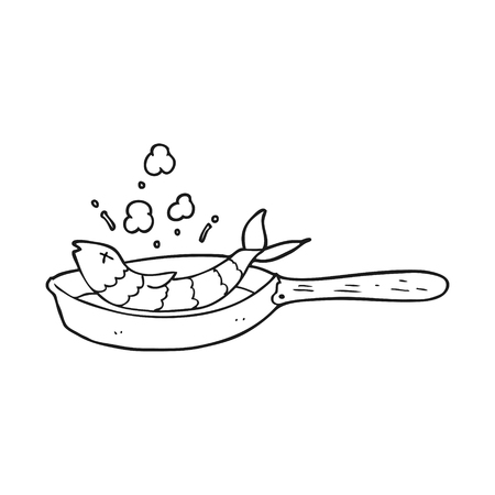 black fish: freehand drawn black and white cartoon frying fish