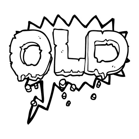 crumbling: freehand drawn speech bubble cartoon word old