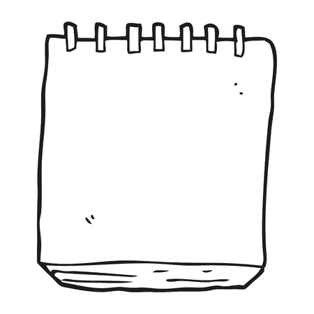 note pad: freehand drawn black and white cartoon note pad