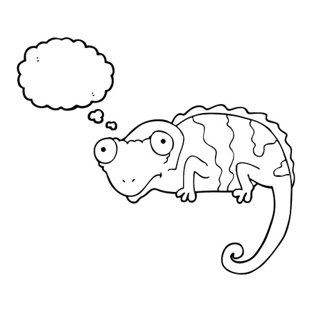 thought balloon: freehand drawn thought bubble cartoon chameleon Illustration