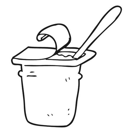 freehand drawn black and white cartoon yogurt  イラスト・ベクター素材