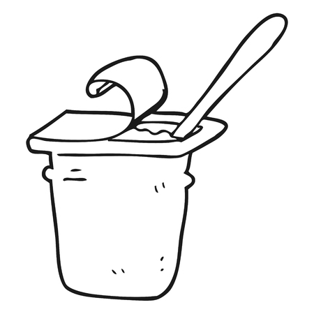 freehand drawn black and white cartoon yogurt Illustration