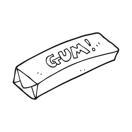 chewing gum: freehand drawn black and white cartoon chewing gum
