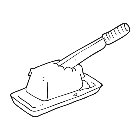 butter knife: freehand drawn black and white cartoon knife in butter