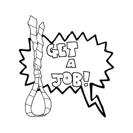 noose: freehand drawn speech bubble cartoon get a job tie noose symbol
