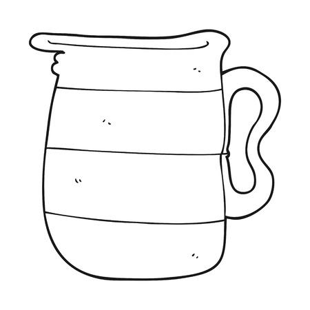 Freihändig gezeichnet schwarz und weiß Karikatur Milchkanne Standard-Bild - 53110627