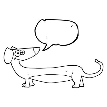 dachshund: freehand drawn speech bubble cartoon dachshund
