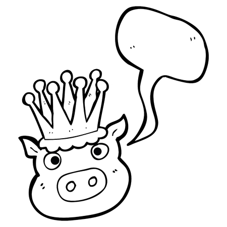 freehand drawn speech bubble cartoon crowned pig Illustration