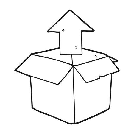 unpacking: freehand drawn black and white cartoon unpacking a box