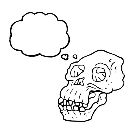 thought balloon: freehand drawn thought bubble cartoon ancient skull