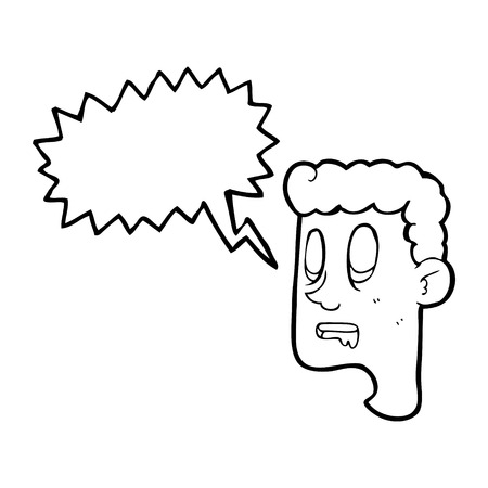 drooling: freehand drawn speech bubble cartoon staring man drooling