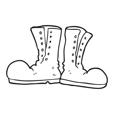 army boots: freehand drawn black and white cartoon shiny army boots