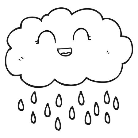 cartoon cloud: freehand drawn black and white cartoon rain cloud Illustration