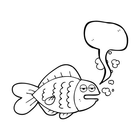 funny fish: freehand drawn speech bubble cartoon funny fish Illustration
