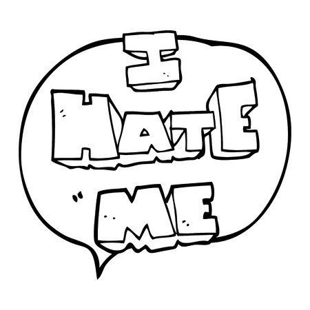 free me: I hate me freehand drawn speech bubble cartoon symbol Illustration