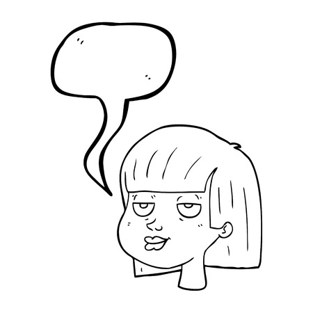 satisfied expression: freehand drawn speech bubble cartoon female face