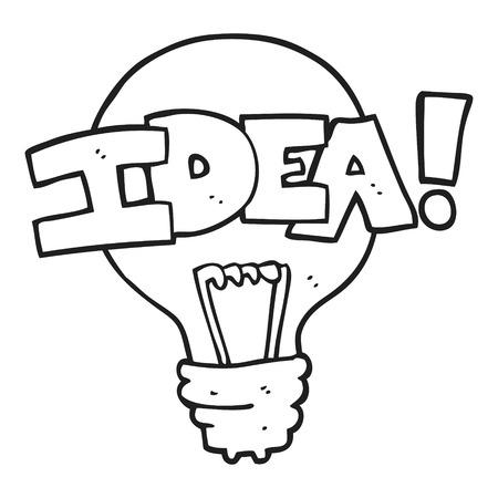 Freehand Drawn Black And White Cartoon Idea Light Bulb Symbol