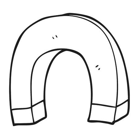 a mano libera disegnato in bianco e nero magnete cartone animato