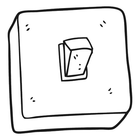 light switch: freehand drawn black and white cartoon light switch