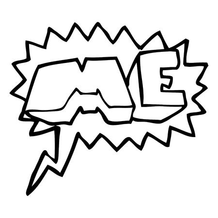 free me: freehand drawn speech bubble cartoon ME symbol