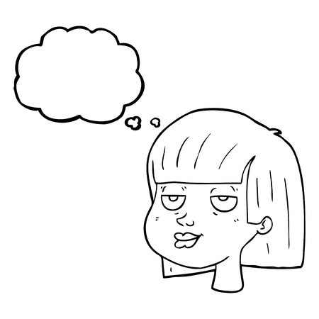 satisfied expression: freehand drawn thought bubble cartoon female face Illustration