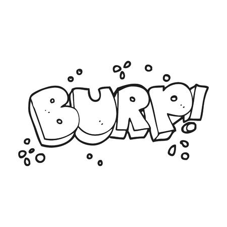 burp: freehand drawn black and white cartoon burp text