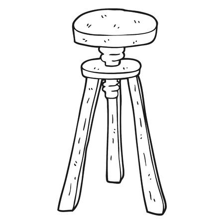 stool: freehand drawn black and white cartoon artist stool