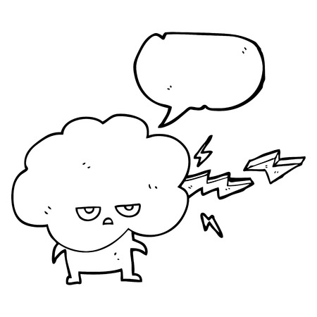 stormcloud: freehand drawn speech bubble cartoon raincloud character shooting lightning