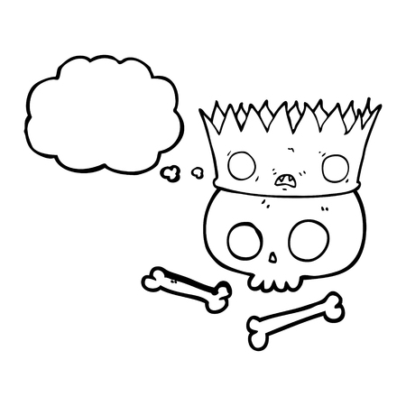 skull with crown: freehand drawn thought bubble cartoon magic crown on old skull