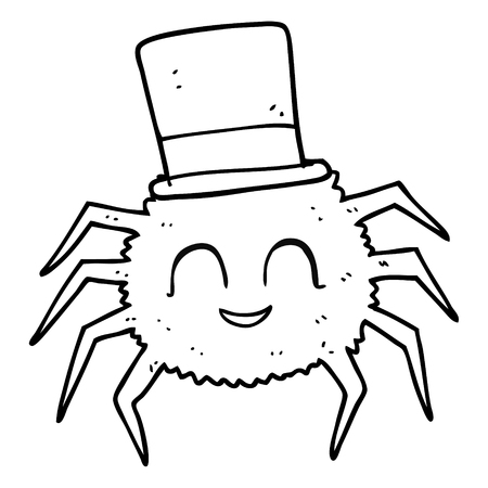 top black hat: freehand drawn black and white cartoon spider wearing top hat Illustration
