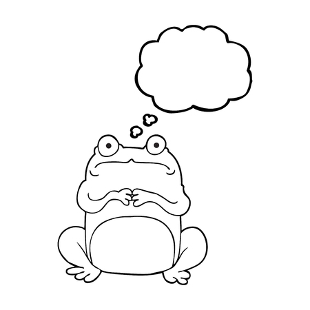 crazy frog: freehand drawn thought bubble cartoon nervous frog