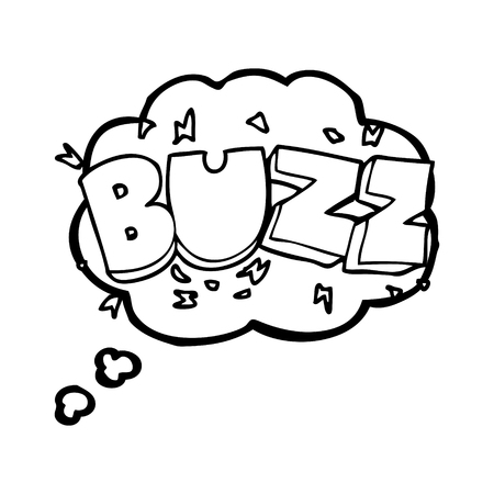 buzz: freehand drawn thought bubble cartoon buzz symbol