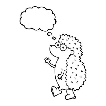 cartoon hedgehog: cute freehand drawn thought bubble cartoon hedgehog