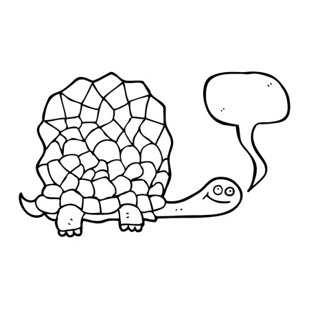 tortoise: freehand drawn speech bubble cartoon tortoise