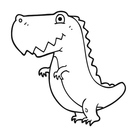 freehand drawn black and white cartoon dinosaur