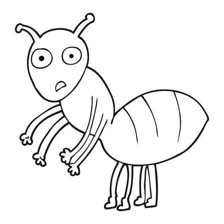 hormiga caricatura: dibujado a mano alzada blanco y negro de dibujos animados hormiga