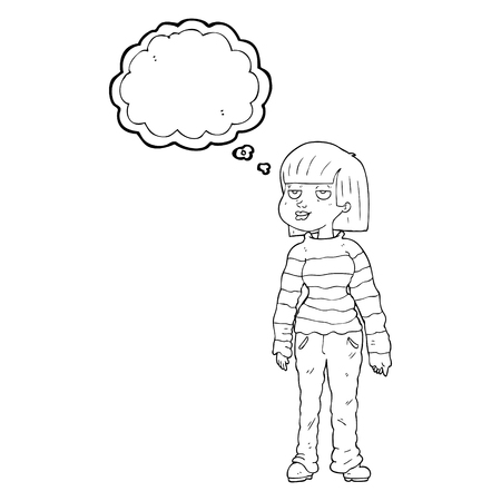 chilled out: freehand drawn thought bubble cartoon woman in casual clothes
