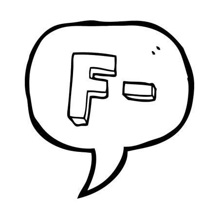grade: freehand drawn speech bubble cartoon F grade