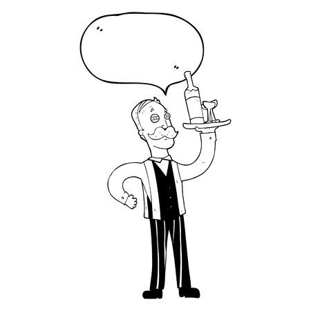 serving people: freehand drawn speech bubble cartoon waiter