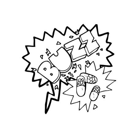 caffiene: freehand drawn speech bubble cartoon stimulant pills