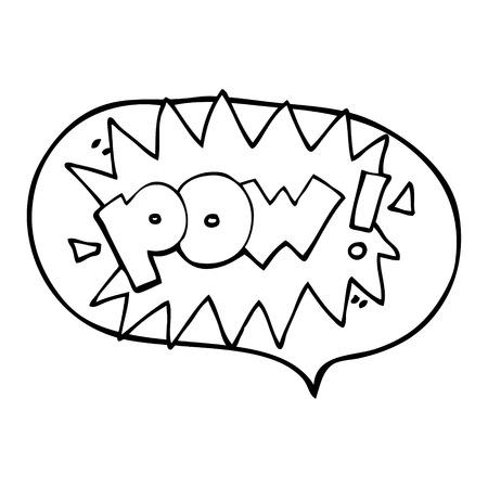 pow: freehand drawn speech bubble cartoon pow symbol Illustration