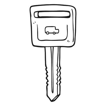 hand key: freehand drawn black and white cartoon car key