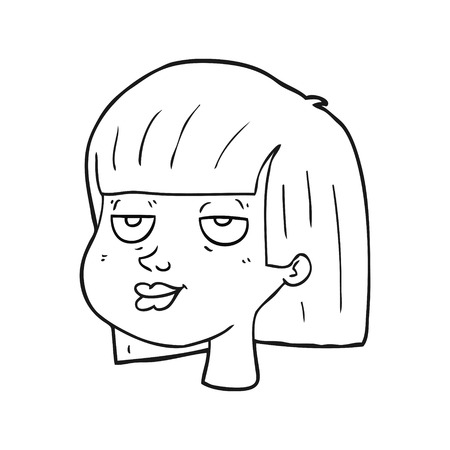 sleepy woman: freehand drawn black and white cartoon female face