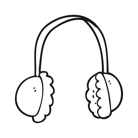 ear muffs: freehand drawn black and white cartoon ear muffs